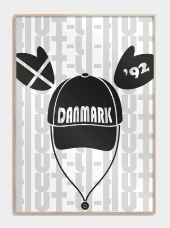 Em 92 danmark hut-li-hut plakat sort hvid