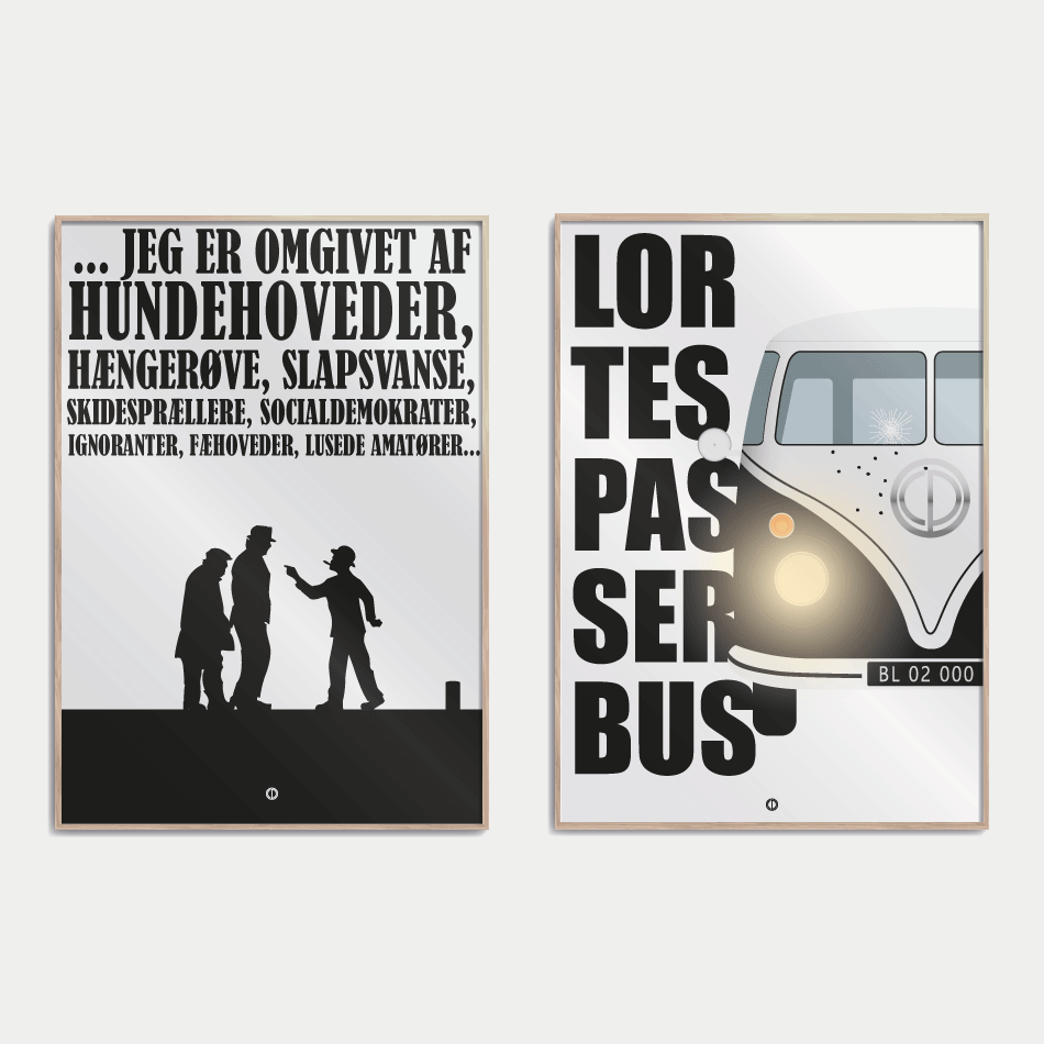 Plakater med citater fra blinkende lygter og olsen banden