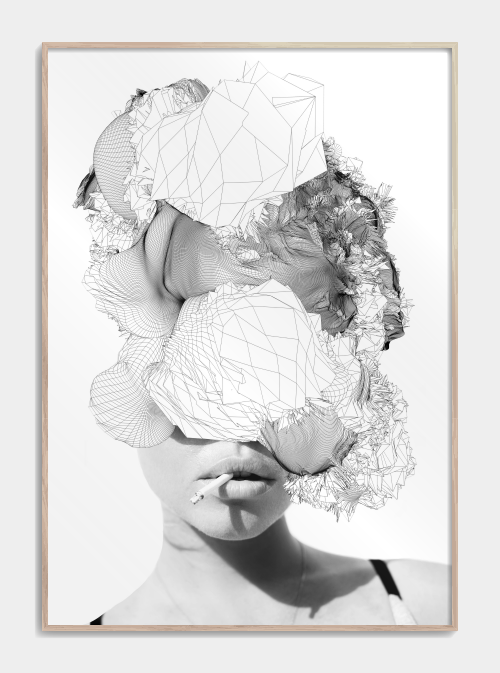 grafiske plakater af kvinde med cigaret i munden