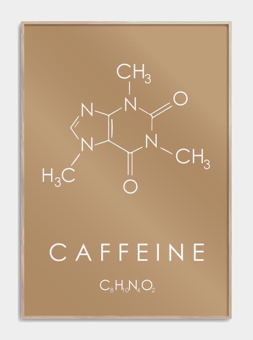 kaffe plakat med molekylet for koffein i brun