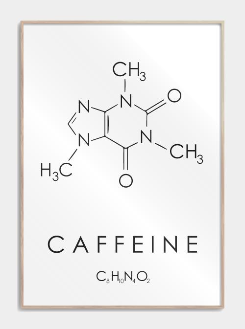 kaffe plakat med molekylet for koffein i hvid