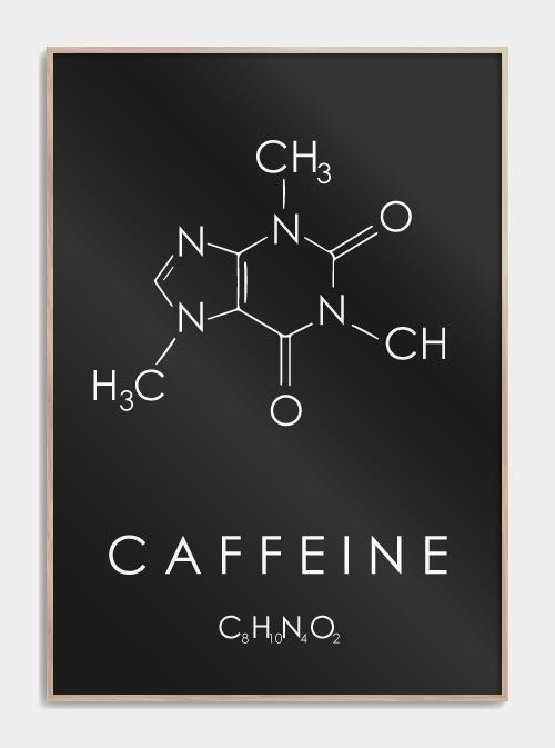 kaffe plakat med molekylet for koffein i sort