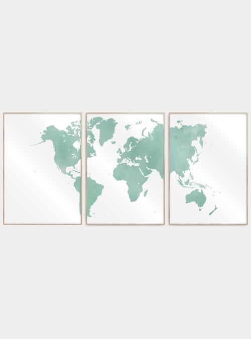 verdenskort plakater delt i 3 i grøn