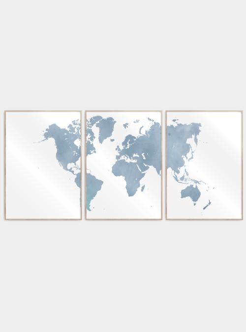 verdenskort plakater delt i 3 i blå