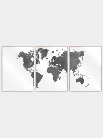 verdenskort plakater delt i 3 i watercolor