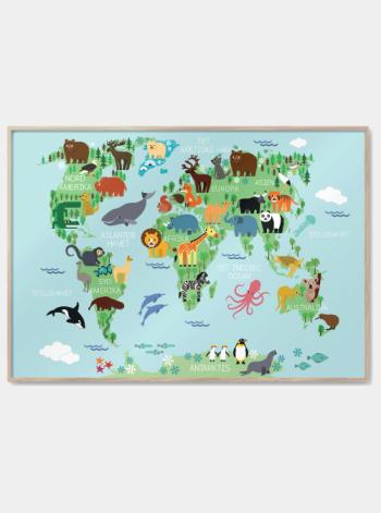 børne verdenskort med dyr