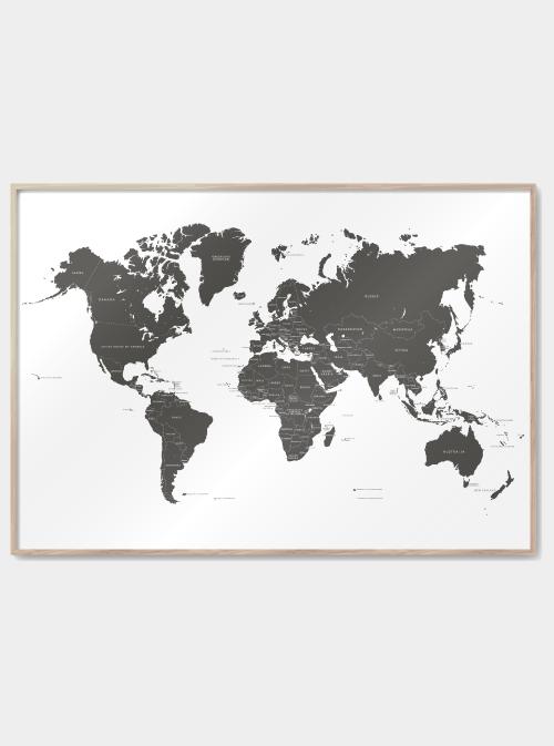 verdenskort plakater i grå