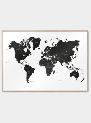 verdenkort plakater med lande i sort