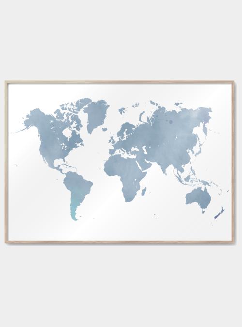 verdenskort plakater i blå vandfarve