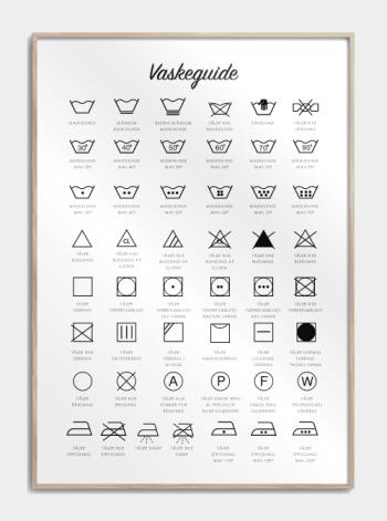 vaskeguide med vaske symboler