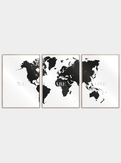 sort verdenskort we are one