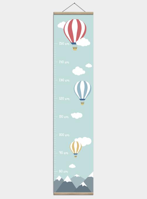 målestok plakat med luftballoner