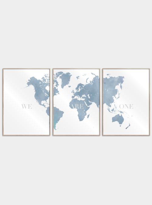 we are one verdenskort delt i 3