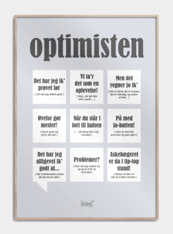 Sjov plakat om optimisten