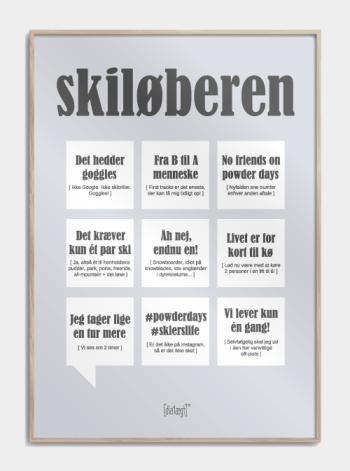 Sjov plakat om skiløberen