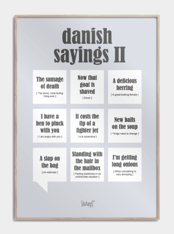 Sjov plakat om danske udtryk på engelsk