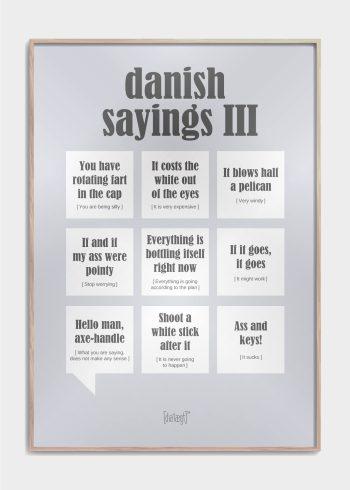 danish sayings 3 plakat i grå