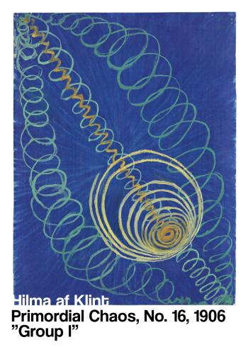 Primordial Chaos - museums plakat af Hilma af klint i de fineste blålige farver