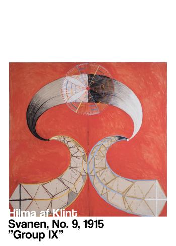 Svanen No. 9 af Hilma klint i de fineste rødlige nuancer