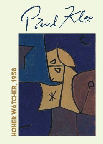 Flot kunsplakat af Paul Klee i de fineste mørke farver ii brunlige og blålige nuancer