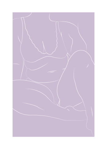 Sarah Frost plakat body positivity i lilla