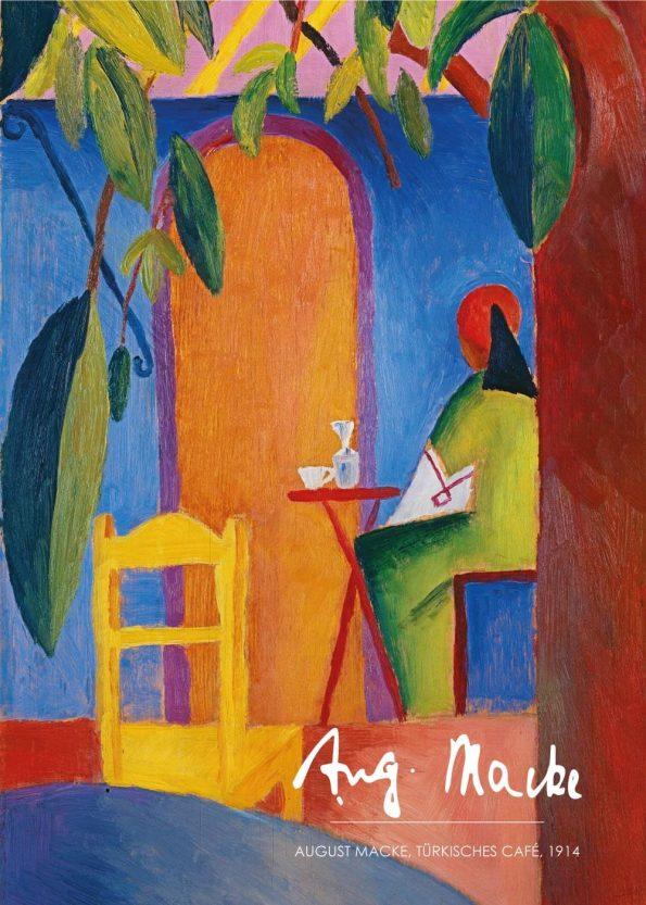 På maleriet ses en person siddende ved et bord på en tyrkisk café