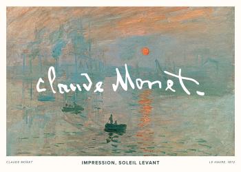 Selve maleriet skildrer havnen i Le Havre, Monets hjemby, hvor man kan se både på vandet og en kraftig orange solopgang, som skaber en smuk kontrast til de mere afdæmpede farver som er i billedet