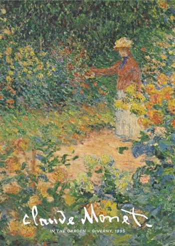 Selve maleriet forestiller Monets smukke have med mange blomster og grønt, hvor man kan se en kvinde plukke blomster.