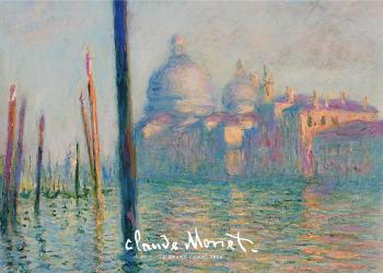 På billedet ses en kanalen med kirken i baggrunden, og består af mange farver i en lilla og blålige nuancer, men formår stadig at give et varmt udtryk