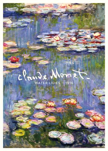 På billedet ses vandet fra en sø, med en masse åkander og farverige blomster, udført i kraftige farver og med løse penselstrøg