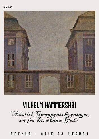 Asiatisk compagnis bygninger af Hammershoei fra 1902. Billedet er set fra st. Annæ GAde i de fineste mørkeligt nuancer.