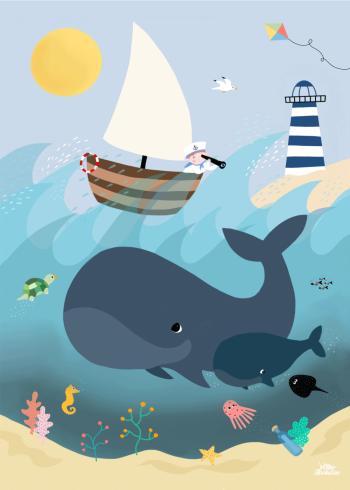 børneplakat med illustration af havets fisk