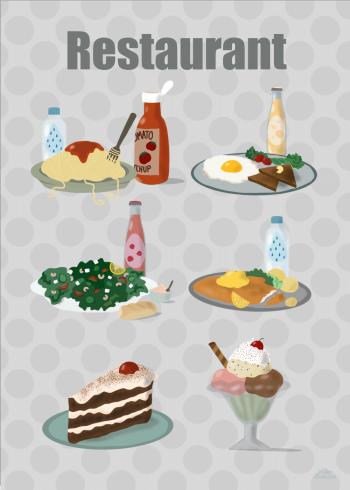 restaurant plakat af 6 retter