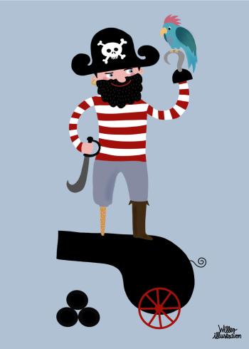 plakater til børn med pirat der står på en kanon