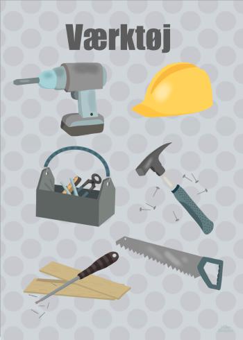 Børneplakat med 6 forskellige værktøj. Heraf alt fra sikkerhedshjelm til værktøjskasse og sav