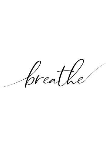 yoga plakat med teksten breathe i med smuk typografi