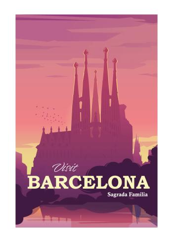 Grafisk plakat med Barcelona af den smukke og ufærdige kirke Sagrada Familia