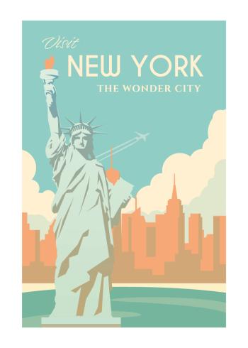 Grafisk plakat af New York, mere specifikt frihedsgudinden i de fineste blårlige og orange nuancer