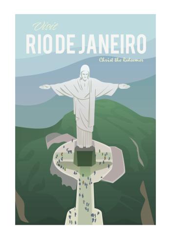 Grafisk plakat af kristus statuen i rio de janeiro, i de fineste grønlige farver