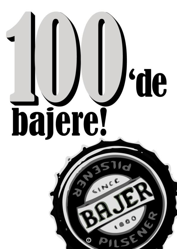 øl plakat 100bajere plakat med danish dynamite citatet: 100de bajere (sort, hvid)