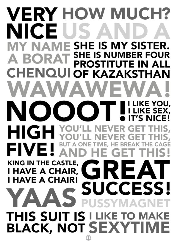 Borat poster with the best borat quotes