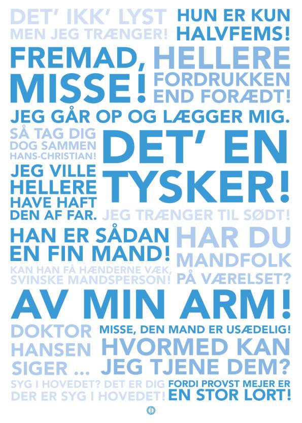 Matador citat plakat med de bedste citater fra serien i blå
