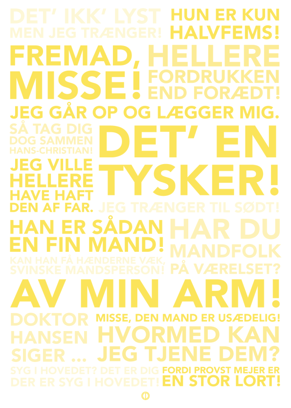 Matador citat plakat med de bedste citater fra serien i gul