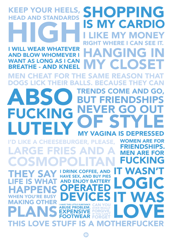 Sex and the city quote poster with the best quotes blå