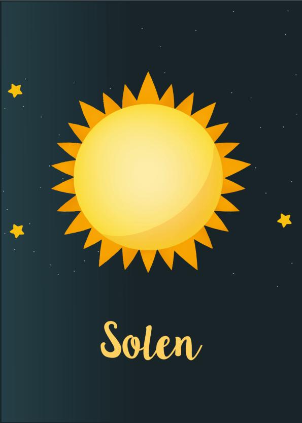 Planet plakat til børneværelset med solen