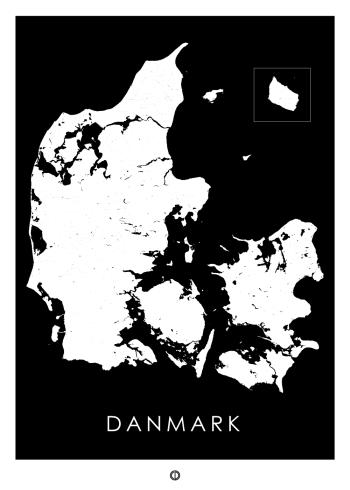 danmarkskort plakat i sort