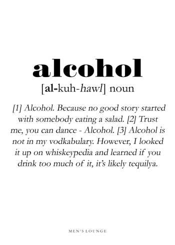 poster with alcohol definition in english