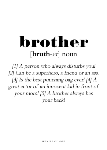 poster with brother definition in english