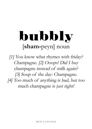 champagne bubbly definition på engelsk