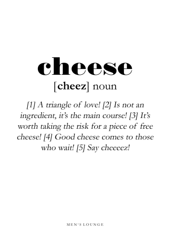 poster with the definition of cheese